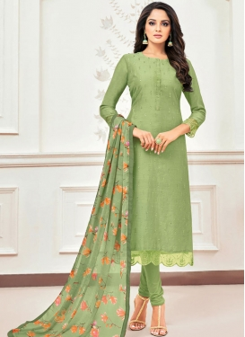 Chanderi Cotton Churidar Salwar Suit For Casual
