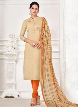 Chanderi Cotton Cream and Orange Resham Work Trendy Churidar Salwar Kameez
