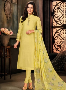 Chanderi Cotton Cutdana Work Trendy Churidar Salwar Kameez