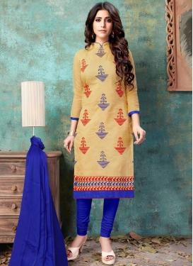 Chanderi Cotton Embroidered Work Churidar Salwar Suit