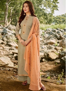 Chanderi Cotton Embroidered Work Palazzo Style Pakistani Salwar Kameez