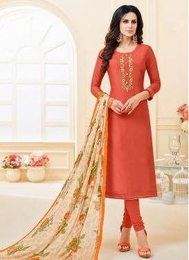 Chanderi Cotton Embroidered Work Trendy Churidar Salwar Kameez