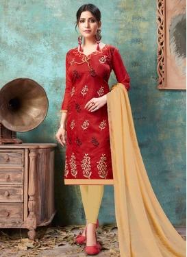 Chanderi Cotton Embroidered Work Trendy Churidar Salwar Suit