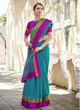 Chanderi Cotton Magenta and Teal Woven Work Traditional Designer Saree