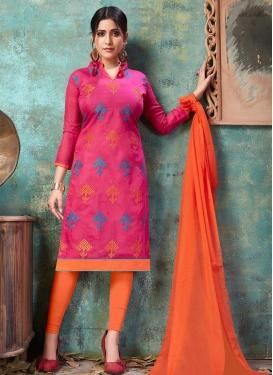 Chanderi Cotton Orange and Rose Pink Embroidered Work Trendy Churidar Salwar Suit