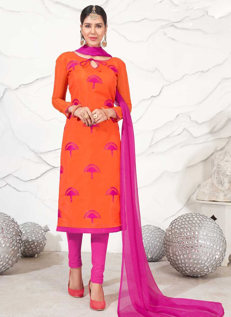 Chanderi Cotton Orange and Rose Pink Trendy Churidar Salwar Suit