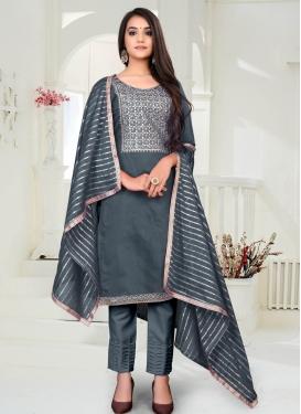 Chanderi Cotton Pant Style Designer Salwar Suit For Ceremonial
