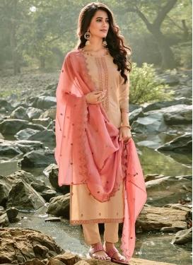 Chanderi Cotton Pant Style Pakistani Salwar Suit For Ceremonial