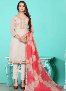 Chanderi Cotton Pant Style Salwar Kameez For Festival
