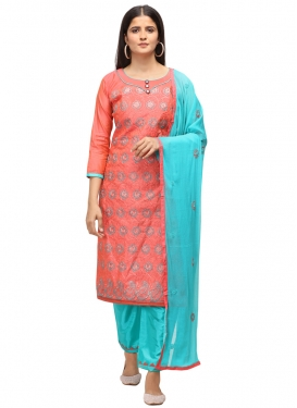 Chanderi Cotton Pant Style Straight Suit For Casual
