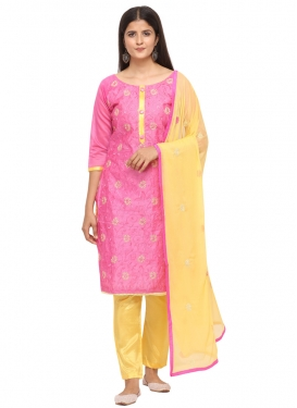 Chanderi Cotton Pink and Yellow Embroidered Work Pant Style Classic Salwar Suit