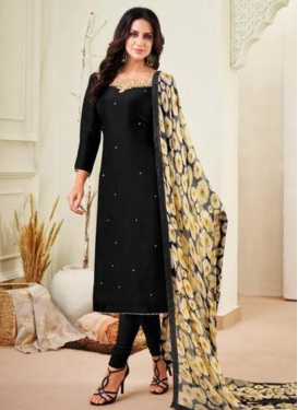 Chanderi Cotton Resham Work Churidar Salwar Kameez