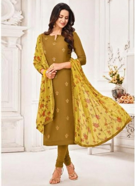 Chanderi Cotton Resham Work Trendy Churidar Salwar Kameez
