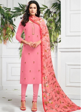 Chanderi Cotton Resham Work Trendy Churidar Suit