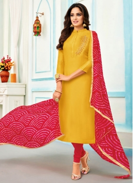 Chanderi Cotton Rose Pink and Yellow Trendy Churidar Suit