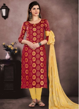 Chanderi Cotton Thread Work Trendy Straight Salwar Kameez