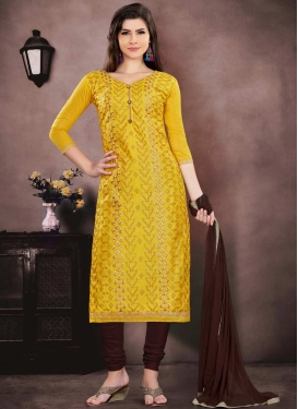Chanderi Cotton Trendy Churidar Salwar Kameez For Ceremonial