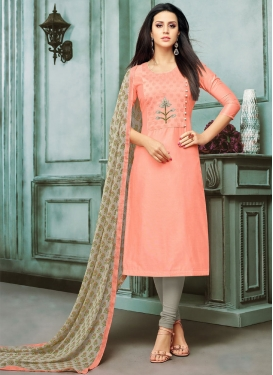 Chanderi Cotton Trendy Churidar Salwar Suit For Casual