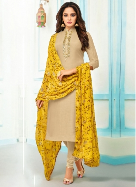 Chanderi Cotton Trendy Churidar Suit