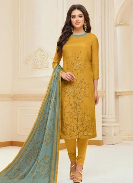 Chanderi Cotton Trendy Churidar Suit For Casual