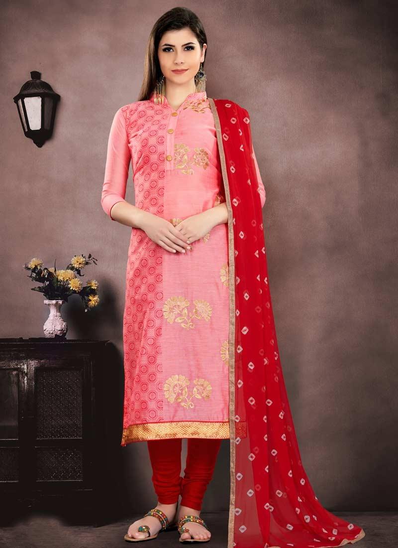 Chanderi Cotton Trendy Straight Salwar Suit