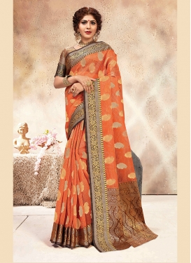 Chanderi Peach Weaving Traditional Saree