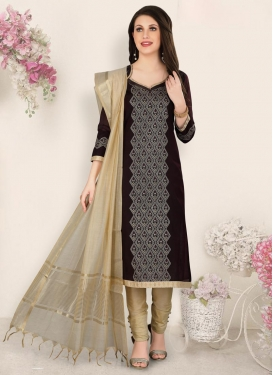 Chanderi Silk Beige and Black Resham Work Pant Style Pakistani Salwar Suit