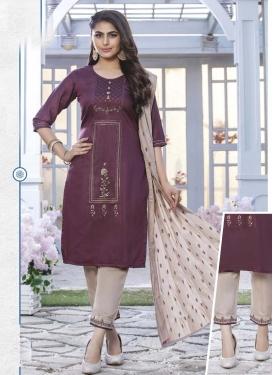 Chanderi Silk Beige and Purple Embroidered Work Readymade Salwar Suit