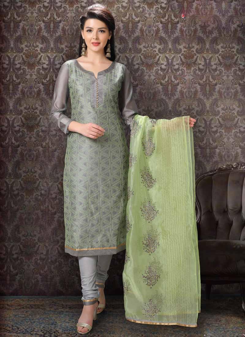 Chanderi Silk Churidar Salwar Kameez