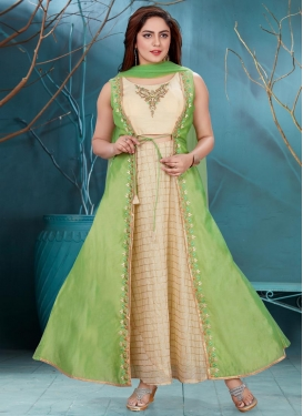 Chanderi Silk Cream and Mint Green Embroidered Work Readymade Floor Length Gown