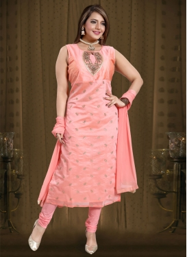 Chanderi Silk Cutdana Work Readymade Churidar Salwar Kameez