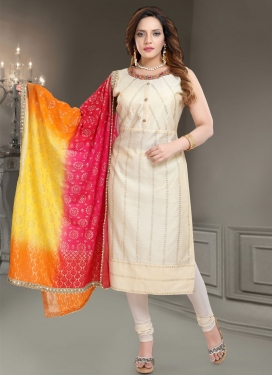 Chanderi Silk Cutdana Work Readymade Churidar Salwar Suit