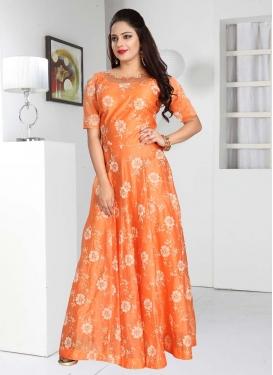 Chanderi Silk Cutdana Work Readymade Classic Gown