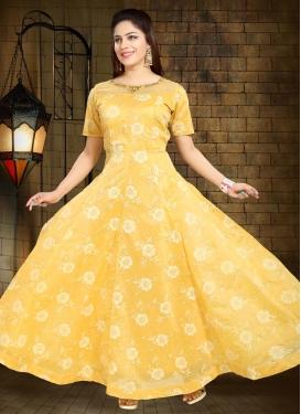Chanderi Silk Cutdana Work Readymade Long Length Gown