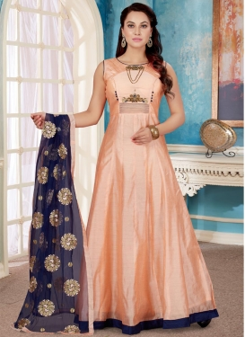 Chanderi Silk Cutdana Work Readymade Long Length Gown