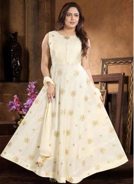 Chanderi Silk Cutdana Work Readymade Trendy Gown