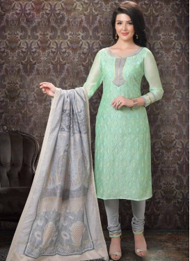 Chanderi Silk Embroidered Work Churidar Salwar Kameez