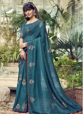 Chanderi Silk Embroidered Work Designer Contemporary Saree