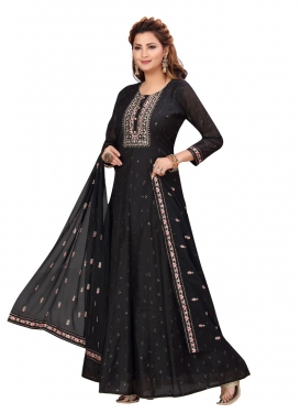 Chanderi Silk Embroidered Work Readymade Anarkali Salwar Suit