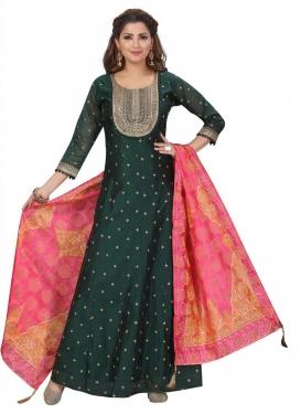 Chanderi Silk Embroidered Work Readymade Anarkali Suit