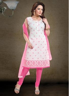 Chanderi Silk Embroidered Work Readymade Churidar Suit