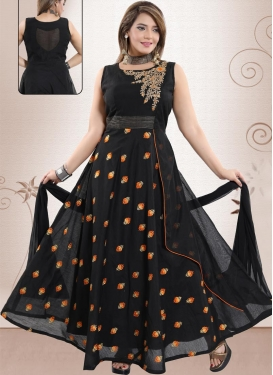 Chanderi Silk Embroidered Work Readymade Classic Gown