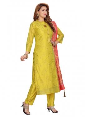 Chanderi Silk Embroidered Work Readymade Designer Suit