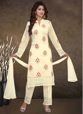 Chanderi Silk Embroidered Work Readymade Salwar Kameez