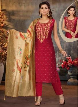 Chanderi Silk Embroidered Work Readymade Salwar Suit