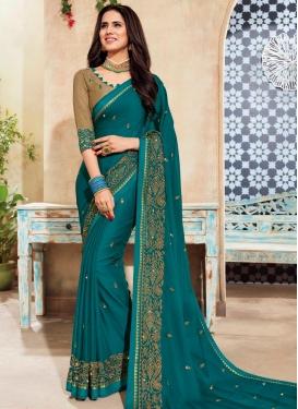Chanderi Silk Embroidered Work Trendy Classic Saree