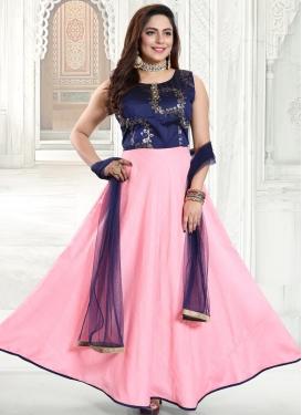 Chanderi Silk Foil Print Work Readymade Designer Gown
