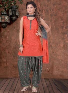 Chanderi Silk Grey and Tomato Readymade Salwar Kameez