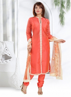 Chanderi Silk Lace Work Readymade Churidar Salwar Kameez