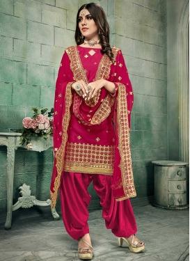 Chanderi Silk Lace Work Trendy Patiala Salwar Kameez